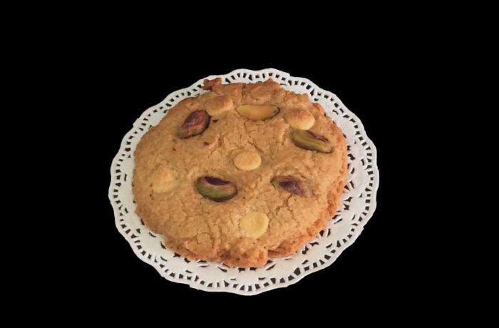 Cookie de pistacho con chocolate blanco